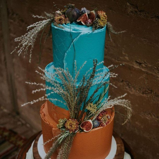 Blue And Brown Buttercream Wedding Cake Bohemian