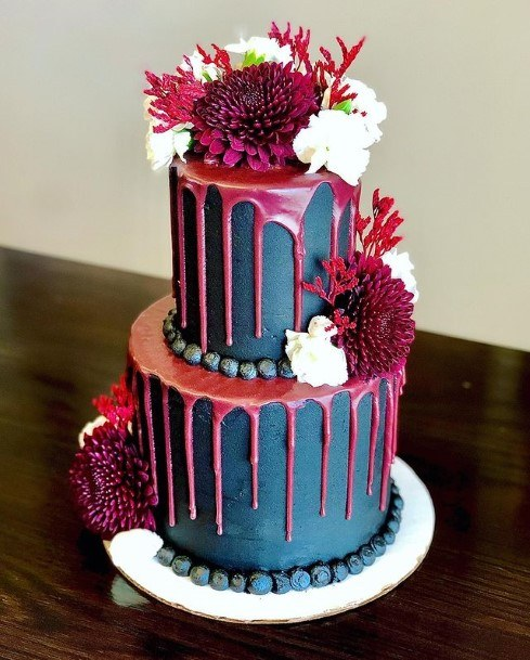 Blue And Dripping Pink Halloween Wedding Cakes