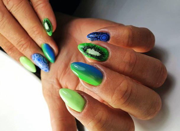 Blue And Green Kiwi Nails Women