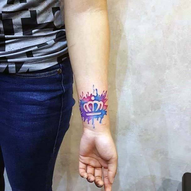 Blue And Pink Crown Tattoo Womens Wrists