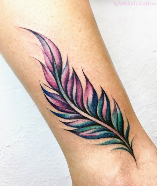 Blue And Purple Feather Tattoo For Women