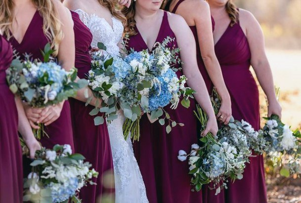 Blue And White Hydrangea Flowers Bouquet Bridesmaid