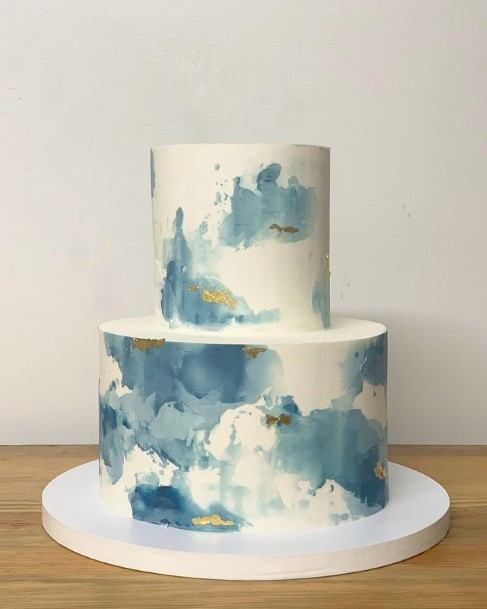 Blue And White Marble Art 2 Tier Wedding Cake