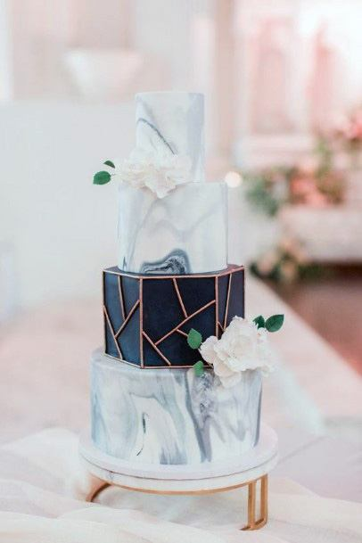 Blue And White Marble Wedding Cake With Black Accent