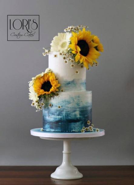 Blue And White Marble Wedding Cakes With Sunflower Women