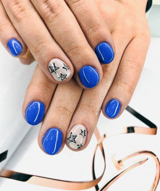 Blue And White Nails Bright For Women