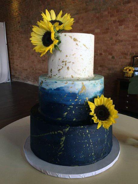 Blue And White Sunflower Wedding Cake Women