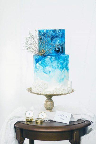 Blue And White Womens Beautiful Beach Wedding Cake