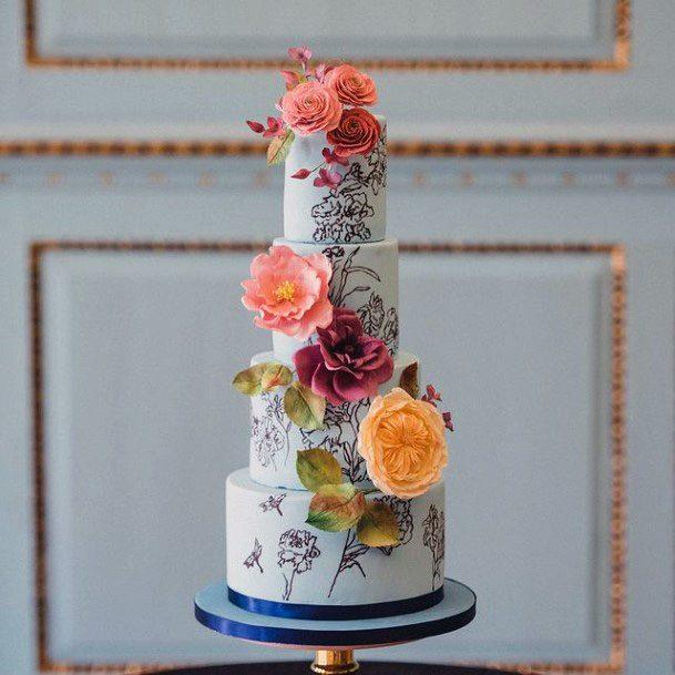 Blue Base Floral Wedding Cake