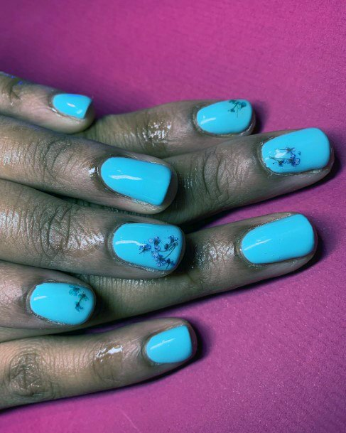 Blue Blossoms Bright Nails For Women