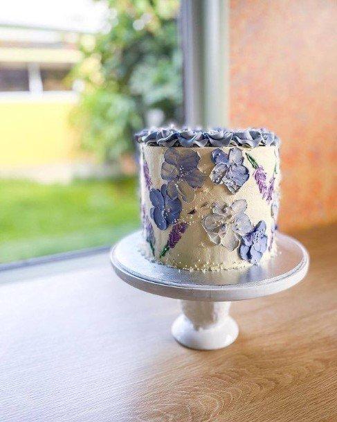 Blue Butterflies On Buttercream Wedding Cake