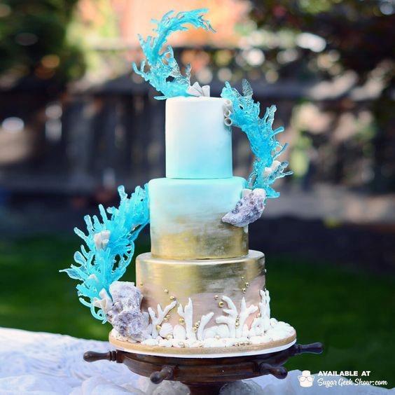 Blue Creepers Beach Wedding Cake Women