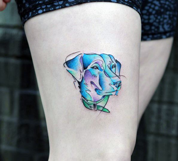Blue Dog Tattoo Womens Thighs