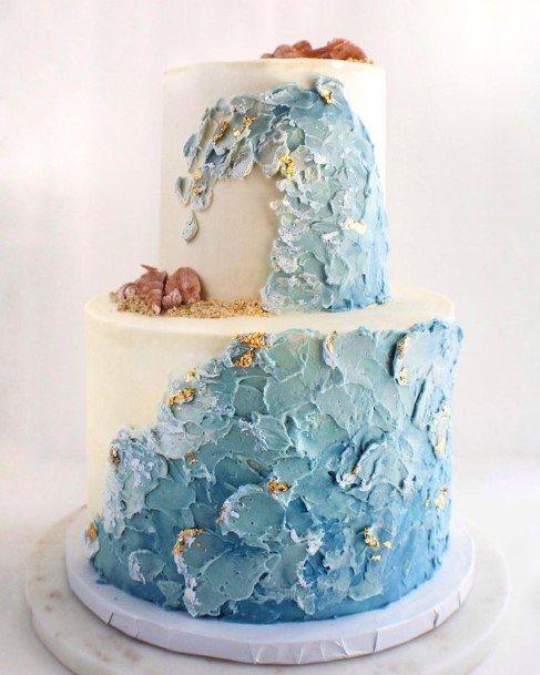 Blue Floral 2 Tier Wedding Cake
