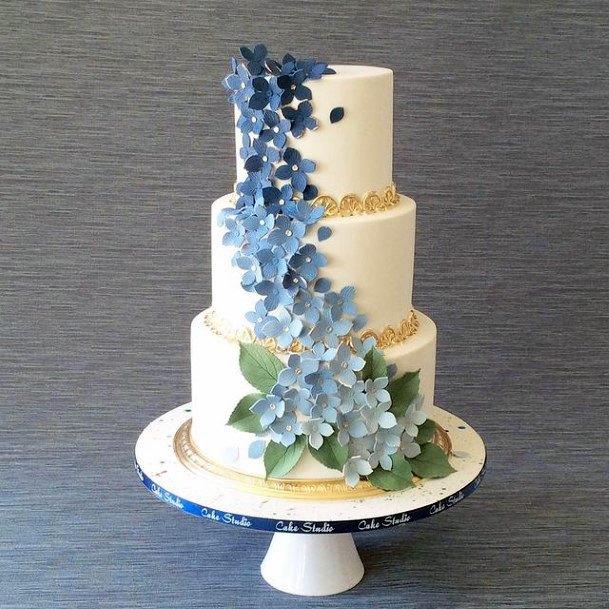 Blue Flowers Art On 3 Tier Wedding Cake Women