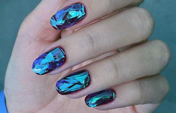 Blue Glass Dark Nails For Women