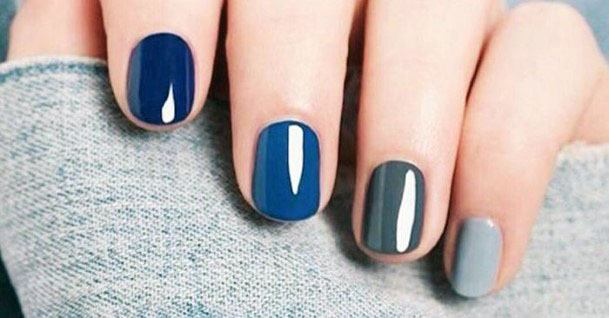Blue Grey Smooth Nail Colors