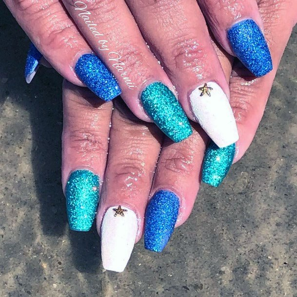 Blue Hued Sugar Nails For Women
