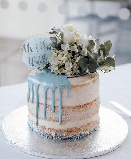 Blue Icing Wedding Cake