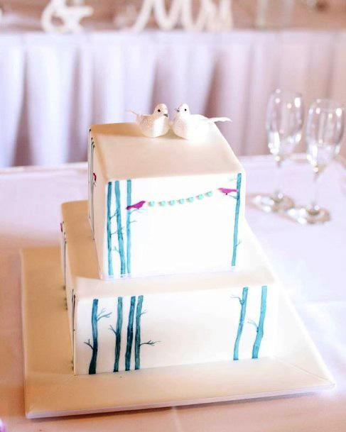 Blue Lined Art Square Wedding Cakes