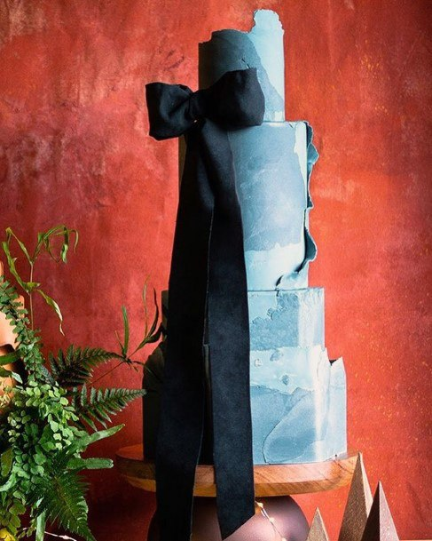 Blue Marbled Elegant Wedding Cake With Ribbon Women