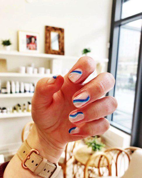 Blue Ribbon Art On Short Nail Women