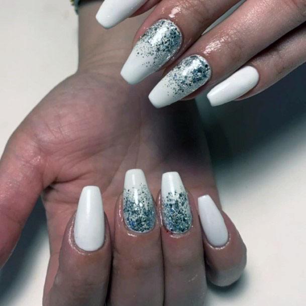 Blue Sparkles On White Gel Nails Women