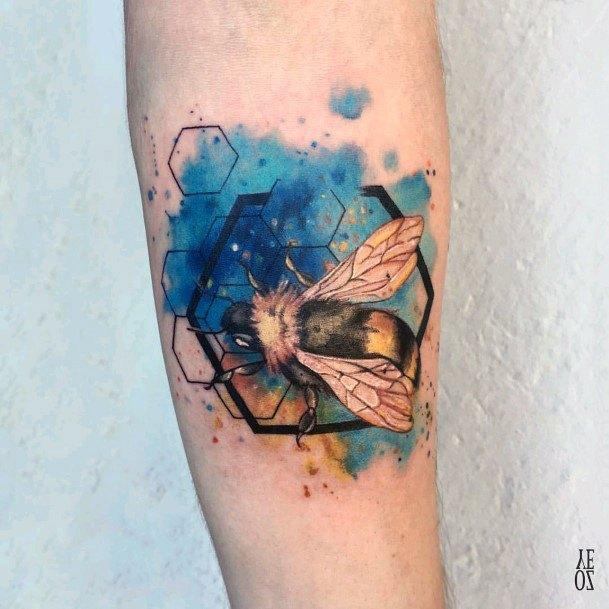 Blue Splashed Hive Tattoo Bee Women