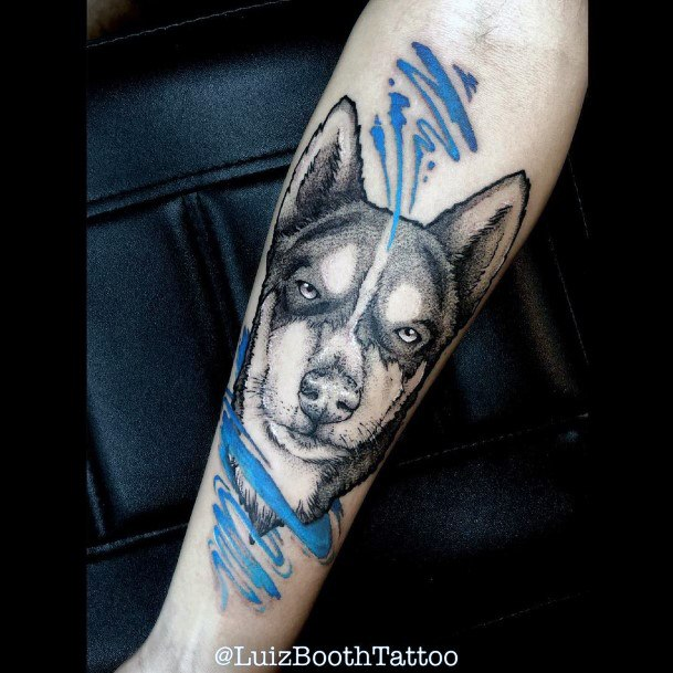 Blue Streaks And Dog Tattoo For Women