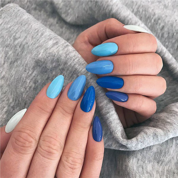 Blue Toned Nails