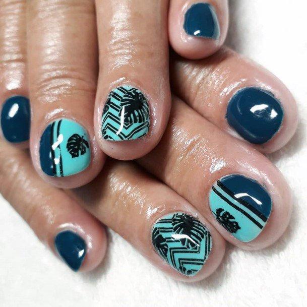 Blue Toned Tropical Nails Women