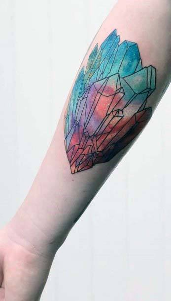 Blue Toned Water Color Geometric Tattoo Women