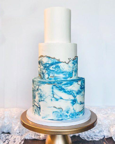 Blue Waves Beach Wedding Cake Women