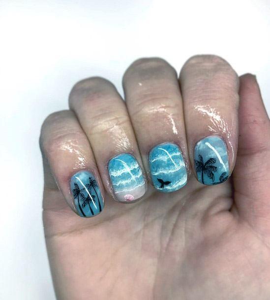 Blue Waves Tropical Nails Women