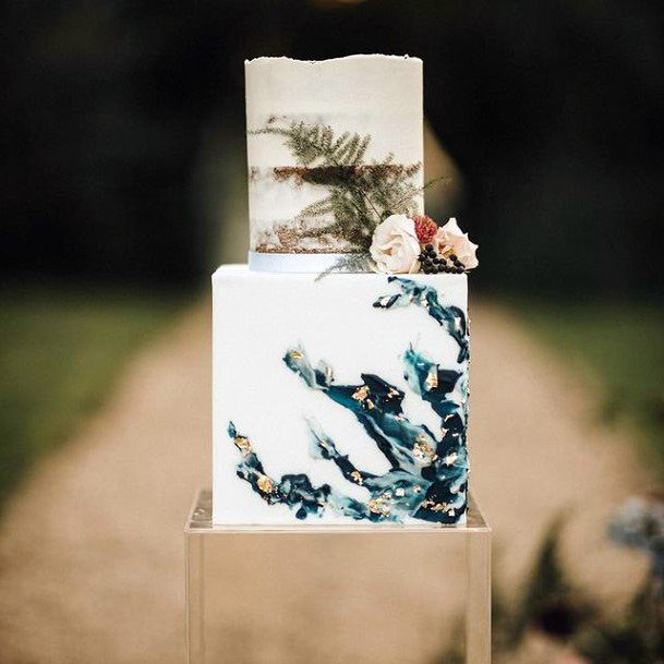 Blue Wavy Design Square Wedding Cake