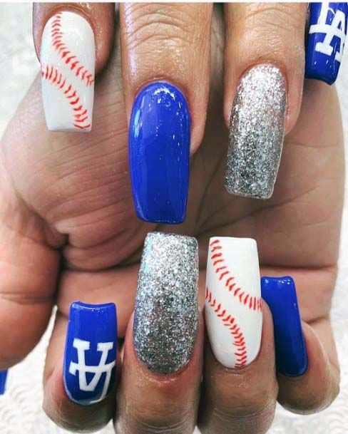 Blue White And Silver Sport Nails For Women