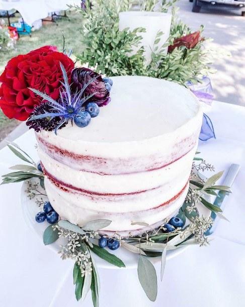 Blueberries And Red Blossoms Velvet Cake