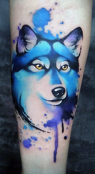 Bluish Watercolor Wolf Dog Tattoo Womens Hands