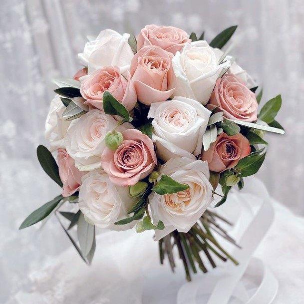 Blush And White Roses Wedding Flowers