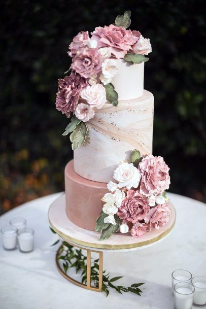 Blush Flowers Realistic Wedding Cake