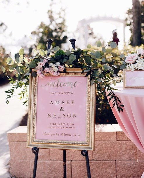 Blush Flowers Wedding Name Board