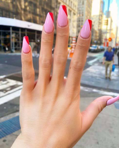 Blush Pink Nails With Red Angled Tips For Women