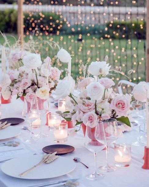 Blush Pink Roses On Wedding Table Flower