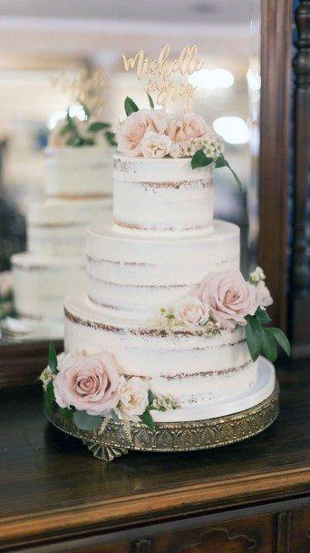 Blush Roses On Wedding Cake Flowers Art