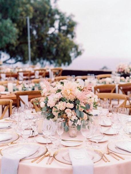 Blush Themed Dining Decor Wedding Flowers