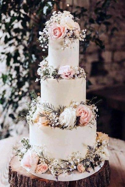 Blush Wedding Flowers On Cake