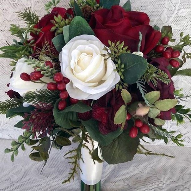 Blushing Red And White Roses Christmas Wedding Flowers