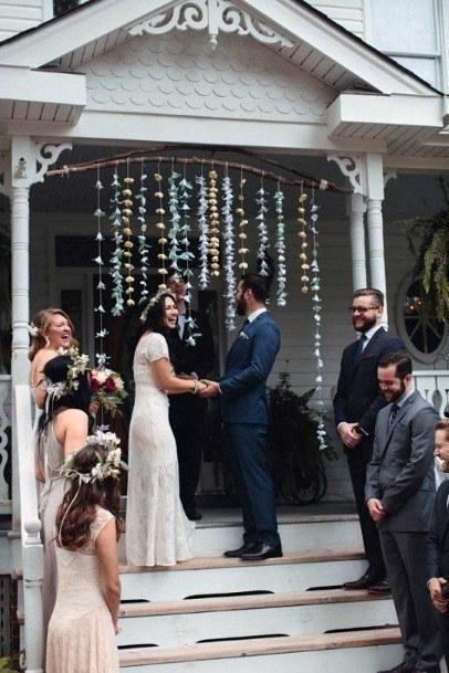 Bohemian Front Porch Inspiration Ceremony Backyard Wedding Ideas