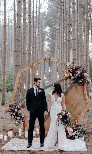 Bohemian Hexagon Arch With Beautiful Forrect Background Rustic Wedding Ideas