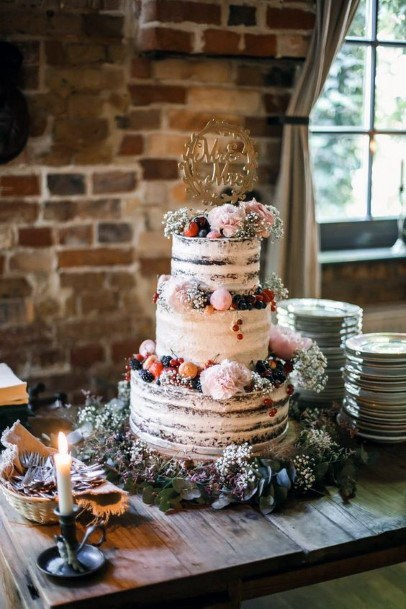 Bohemian Semi Naked Natural Cake With Berries And Flowers Wedding Cake Ideas